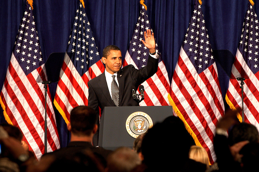 Presedent Barak Obama at Dobson High Scool in Mesa, Arizona wed 18, 2009 at about 10:25 am.  Photo by AJ Alexnader
