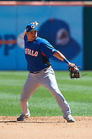 Buffalo Bisons shortstop Oswaldo Navarro #19 during an International League game against the Empire State Yankees at Coca-Cola Field on August 21, 2012 in Buffalo, New York.  Empire State, who was the home team because of stadium renovations, defeated Buffalo 4-2.  (Mike Janes/Four Seam Images)