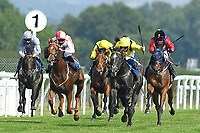 Winner of The AJN Steelstock Cecilia Hall Handicap Itkaann (yellow) ridden by David Probert and trained by Owen Burrows during Horse Racing at Salisbury Racecourse on 9th August 2020