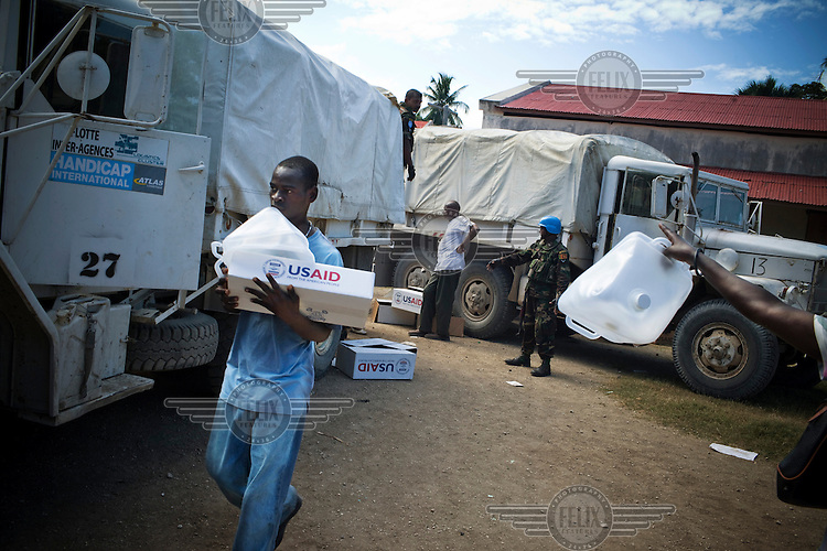 Hygiene kits distributed by USAid and Handicap International in Petit Grove. A 7.0 magnitude earthquake struck Haiti on 12/01/2010. Early reports indicated that more than 100,000 may have been killed and three million affected.