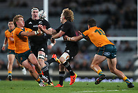 NZ's Damien McKenzie passes to Brodie Retallick during the Bledisloe Cup rugby match between the New Zealand All Blacks and Australia Wallabies at Eden Park in Auckland, New Zealand on Saturday, 14 August 2021. Photo: Simon Watts / lintottphoto.co.nz / bwmedia.co.nz