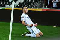 Mike van der Hoorn of Swansea City celebrates scoring his side's second goal during the Sky Bet Championship match between Swansea City and Stoke City at the Liberty Stadium in Swansea, Wales, UK. Wednesday 09 April 2019