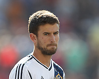 LA Galaxy defender Tommy Meyer (21). In a Major League Soccer (MLS) match, the New England Revolution (blue) defeated LA Galaxy (white), 5-0, at Gillette Stadium on June 2, 2013.
