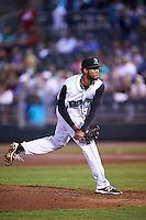 Dayton Dragons relief pitcher Juan Martinez (18) during a game against the South Bend Cubs on May 11, 2016 at Fifth Third Field in Dayton, Ohio.  South Bend defeated Dayton 2-0.  (Mike Janes/Four Seam Images)