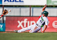 29 July 2018: Vermont Lake Monsters infielder Jeremy Eierman slides into second in the 4th inning of a game against the Batavia Muckdogs at Centennial Field in Burlington, Vermont. The Lake Monsters defeated the Muckdogs 4-1 in NY Penn League action. Mandatory Credit: Ed Wolfstein Photo *** RAW (NEF) Image File Available ***