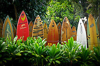 These used surfboards make up the colorful fence that surrounds the Surfrider Foundation in Maui.