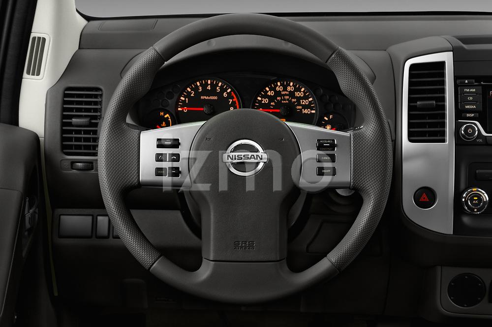 Car pictures of steering wheel view of a 2018 Nissan Frontier S-King-Cab 4 Door Pickup Steering Wheel