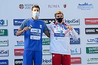 Podium<br /> 50m Breaststroke Men - Final<br /> L to R<br /> LISOVETS' Volodymyr UKR Bronze Medal<br /> SKORA Bartosz POL Bronze Medal<br /> swimming, nuoto<br /> LEN European Junior Swimming Championships 2021<br /> Rome 2179<br /> Stadio Del Nuoto Foro Italico <br /> Photo Giorgio Scala / Deepbluemedia / Insidefoto