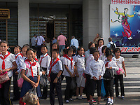 Vor dem Zirkus von Pyongyang, Nordkorea, Asien<br /> Circus of  at Pyongyang, North Korea, Asia