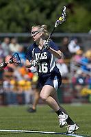Yale University attacker Devon Rhodes (16). Boston College defeated Yale University, 16-5, at Newton Campus Field, April 28, 2012.