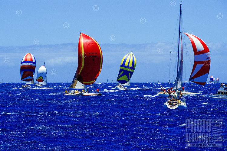 Boats at sea for the Pan Am Clipper Cup of 1984 in Honolulu