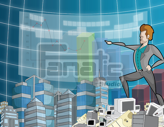 Businessman standing on a dump of computer equipment and pointing towards a financial line graph