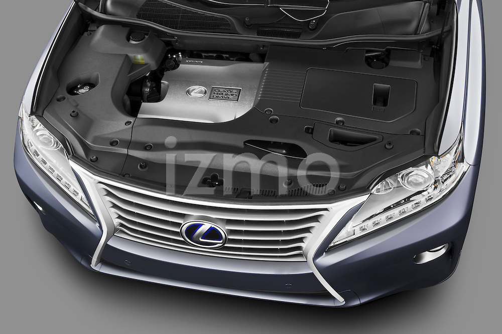 High angle engine detail of a 2013 Lexus RX 450H