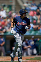 Scranton/Wilkes-Barre RailRiders designated hitter Ji-Man Choi (36) runs to first base during a game against the Rochester Red Wings on June 7, 2017 at Frontier Field in Rochester, New York.  Scranton defeated Rochester 5-1.  (Mike Janes/Four Seam Images)