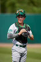 Daytona Tortugas catcher Tyler Stephenson (30) warms up before a game against the Florida Fire Frogs on April 7, 2018 at Osceola County Stadium in Kissimmee, Florida.  Daytona defeated Florida 4-3 in a six inning rain shortened game.  (Mike Janes/Four Seam Images)