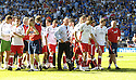 30/05/2009  Copyright  Pic : James Stewart.sct_jspa_27_rangers_v_falkirk.FALKIRK MANAGER JOHN HUGHES LEADS HIS PLAYERS TOWARD THE FANS AT THE END OF THE GAME.James Stewart Photography 19 Carronlea Drive, Falkirk. FK2 8DN      Vat Reg No. 607 6932 25.Telephone      : +44 (0)1324 570291 .Mobile              : +44 (0)7721 416997.E-mail  :  jim@jspa.co.uk.If you require further information then contact Jim Stewart on any of the numbers above.........