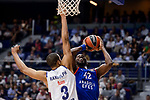 Real Madrid's Anthony Randolph and Anadolu Efes's Bryant Dunston during Turkish Airlines Euroleague match between Real Madrid and Anadolu Efes at Wizink Center in Madrid, April 07, 2017. Spain.<br /> (ALTERPHOTOS/BorjaB.Hojas)