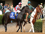 """October 07, 2018 : #3 Blame the Frog and jockey Brian Hernandez Jr. in the 1st running of The Indian Summer $200,000 """"Win and You're In Breeders' CupJuvenile Turf Sprint Division"""" for trainer Mark Casse and owner John Oxley  at Keeneland Race Course on October 07, 2018 in Lexington, KY.  Candice Chavez/ESW/CSM"""