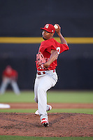 Palm Beach Cardinals relief pitcher Pedro Echemendia (32) delivers a pitch during a game against the Dunedin Blue Jays on April 15, 2016 at Florida Auto Exchange Stadium in Dunedin, Florida.  Dunedin defeated Palm Beach 8-7.  (Mike Janes/Four Seam Images)