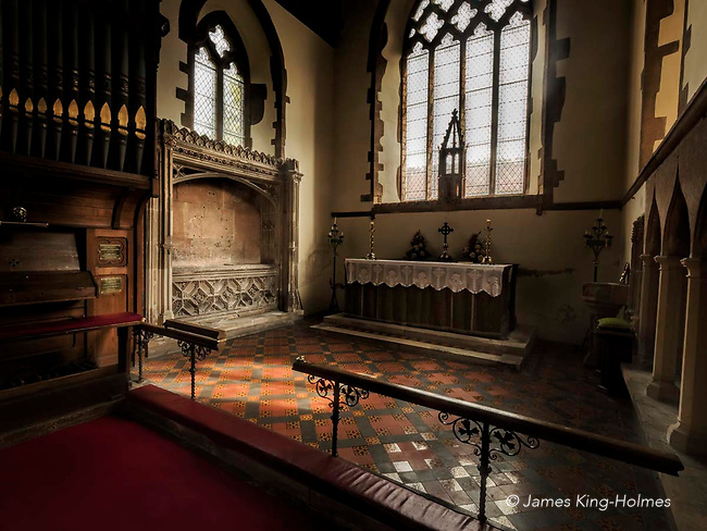 The tomb of Lady Catherine Gordon in the chancel of the Parish Church of St. Nicholas in Fyfield, Oxfordshire, UK. The plaques and decorations of the tomb were destroyed in the fire which almost destroyed the church in 1873. Lady Catherine Gordon lived in Fyfield and was the wife of Perkin Warbeck, who claimed to be Richard one of the 'princes in the tower' allegedly murdered by Richard lll or by Henry Vll.