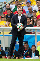 Belgium manager Marc Wilmots holds the ball