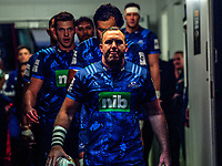 Blues captain James Parsons leads his team out for the 2017 DHL Lions Series rugby union match between the Blues and British & Irish Lions at Eden Park in Auckland, New Zealand on Wednesday, 7 June 2017. Photo: Dave Lintott / lintottphoto.co.nz