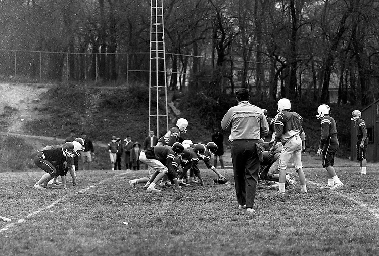 Bethel Park PA:  Bethel Recreation Football League's Chamber of Commerce Football team.  We played all the games at the Senior High Football Field on Park Avenue. Team members include; John Rassmussen, Mike Stewart, Scott Streiner, Fred Griffin, Rick Matthews, Joe Fredley, Bruce Mahoney, Coaches Frank Feeney, and Jim Mahoney.  Mr. Chris, Director of the Recreation League was also the referee.