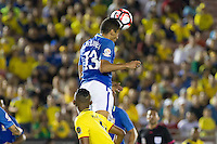 Action photo during the match Brazil vs Ecuador, Corresponding Group -B- America Cup Centenary 2016, at Rose Bowl Stadium<br /> <br /> Foto de accion durante el partido Brasil vs Ecuador, Correspondiante al Grupo -B-  de la Copa America Centenario USA 2016 en el Estadio Rose Bowl, en la foto:  Marquinhos de Brasil<br /> <br /> <br /> 04/06/2016/MEXSPORT/Victor Posadas.