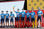 Movistar Team best team from yesterday's stage at sign on before the start of Stage 7 of La Vuelta d'Espana 2021, running 152km from Gandia to Balcon de Alicante, Spain. 20th August 2021.     <br /> Picture: Luis Angel Gomez/Photogomezsport | Cyclefile<br /> <br /> All photos usage must carry mandatory copyright credit (© Cyclefile | Luis Angel Gomez/Photogomezsport)