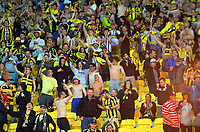 Yellow Fever fans celebrate victory during the A-League football match between Wellington Phoenix and Central Coast Mariners at Westpac Stadium in Wellington, New Zealand on Saturday, 4 January 2020. Photo: Dave Lintott / lintottphoto.co.nz