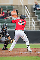 Brett Austin (20) of the Kannapolis Intimidators at bat against the Hickory Crawdads at CMC-Northeast Stadium on April 17, 2015 in Kannapolis, North Carolina.  The Crawdads defeated the Intimidators 9-5 in game one of a double-header.  (Brian Westerholt/Four Seam Images)