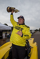 Mar. 17, 2013; Gainesville, FL, USA; NHRA super gas driver Troy Coughlin Jr celebrates after winning the Gatornationals at Auto-Plus Raceway at Gainesville. Mandatory Credit: Mark J. Rebilas-