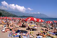 Beaches and crowds in Budva Montenegro