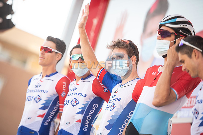 Arnaud Demare (FRA) and Groupama-FDJ at sign on before the start of Stage 12 of La Vuelta d'Espana 2021, running 175km from Jaén to Córdoba, Spain. 26th August 2021. <br /> Picture: Unipublic/Charly Lopez | Cyclefile<br /> <br /> All photos usage must carry mandatory copyright credit (© Cyclefile | Charly Lopez/Unipublic)