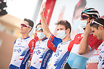 Arnaud Demare (FRA) and Groupama-FDJ at sign on before the start of Stage 12 of La Vuelta d'Espana 2021, running 175km from Jaén to Córdoba, Spain. 26th August 2021. <br /> Picture: Unipublic/Charly Lopez   Cyclefile<br /> <br /> All photos usage must carry mandatory copyright credit (© Cyclefile   Charly Lopez/Unipublic)