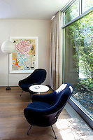 modern blue armchairs