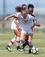 Bradenton, FL - Sunday, June 12, 2018: Caitlin Shaw, Melchie Dumonay prior to a U-17 Women's Championship 3rd place match between Canada and Haiti at IMG Academy. Canada defeated Haiti 2-1.