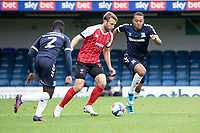 Andy Williams, Cheltenham Town under pressure from Elvis Bwomono, Southend United and Shaun Hobson, Southend United during Southend United vs Cheltenham Town, Sky Bet EFL League 2 Football at Roots Hall on 17th October 2020