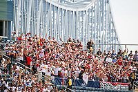 New York Red Bulls fans celebrate a goal. The New York Red Bulls defeated the Philadelphia Union  3-2 during a Major League Soccer (MLS) match at PPL Park in Chester, PA, on May 13, 2012.