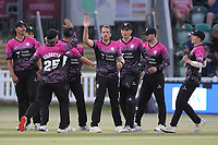 Josh Davey of Somerset celebrates with his team mates after taking the wicket of Michael Pepper during Somerset vs Essex Eagles, Vitality Blast T20 Cricket at The Cooper Associates County Ground on 9th June 2021