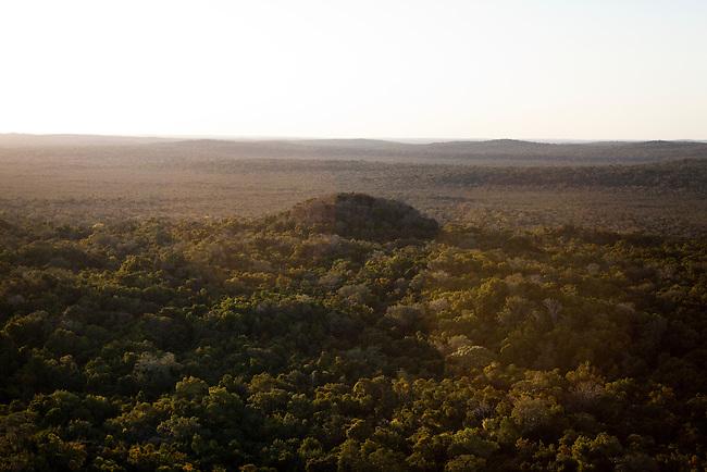 "Overflight over Mayan Biosphere Reserve, View on pyramit ""La Danta"" at ""El Mirador"" complex."