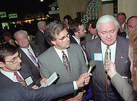 Montreal (qc) CANADA - file Photo - 1992 - <br /> <br /> Journalist interview of<br /> 'Union des Municipalites du Quebec convention in April - Yvon Picotte (M),<br /> Ralph Mercier, UMQ President and Mayor of Charlesbourg (R)