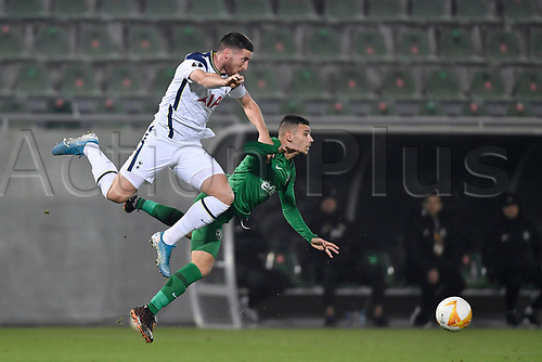 5th November 2020; RAZGRAD, BULGARIA; UEFA Europa League football, group stages;  Ludogorets Razgrad versus Tottenham Hotspur;  Matt Doherty of Tottenham challenges Dominic Yankov of Ludogorets