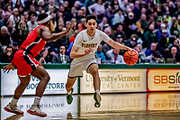 8 January 2020: University of Vermont Catamount Guard Robin Duncan, a Senior from Evansville, IN, in first half action against the Stony Brook University Seawolves at Patrick Gymnasium in Burlington, Vermont. The Seawolves defeated the Catamounts 81-77 in a closely fought game. Mandatory Credit: Ed Wolfstein Photo *** RAW (NEF) Image File Available ***