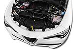 Car stock 2018 Alfa Romeo Stelvio Base 5 Door SUV engine high angle detail view