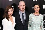 "English actress Emma Watson, left, US director Darren Aronofsky, centre, and US actress Jennifer Connelly attend the Premiere of the movie ""Noah"" in Madrid. March 17, 2014. (ALTERPHOTOS/Carlos Dafonte)"