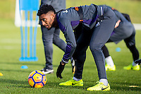 Wednesday 08 February 2017<br /> Pictured: Leroy Fer prepares to take a shot<br /> Re: Swansea City FC training session at the Fairwood training ground, Swansea, Wales, UK
