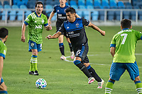 SAN JOSE, CA - OCTOBER 18: Andres Rios #25 of the San Jose Earthquakes dribbles the ball during a game between Seattle Sounders FC and San Jose Earthquakes at Earthquakes Stadium on October 18, 2020 in San Jose, California.