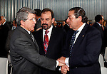 Atletico de Madrid's President Enrique Cerezo (l),Getafe's President Angel Torres (c) and Real Madrid's President Vicente Boluda during Ceremony of Honoris Causa for Samaranch..(ALTERPHOTOS/Angel Rivero)