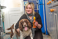 RACHEL HAYES, with her five year old springer spaniel dog MOLLYPOPS who saved her life by performing a canine version  of the Heimlich  manoeuvre on her when she was choking on a soft sweet . <br /> <br /> Rachel, who lives alone and who has had Mollypops since she was a puppy, was unable to speak or breath, and would have died had her dog not pushed her back, dislodging the obstruction from her throat<br /> <br /> <br /> Drefach Felindre, Llandysul Wales UK<br /> Saturday 15 March 2014<br /> <br /> <br /> <br /> photo © Keith morris